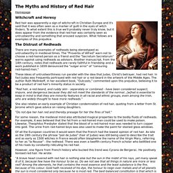 The Myths and History of Red Hair - Witchcraft and Heresy
