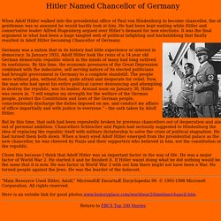 Hitler Named Chancellor of Germany