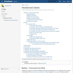 HiveServer2 Clients - Apache Hive