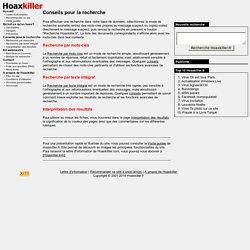 Hoaxkiller.fr - Conseils pour la recherche