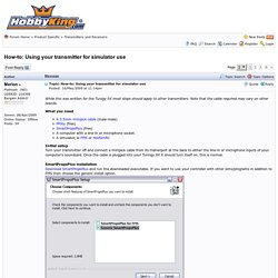 HobbyKing Forums - How-to: Using your transmitter for simulator use - Page 1