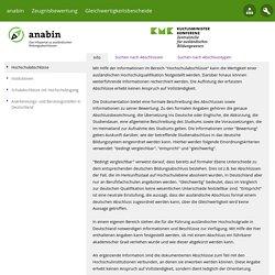 Anabin - Informationssystem zur Anerkennung ausländischer Bildungsabschlüsse: Hochschulabschlüsse