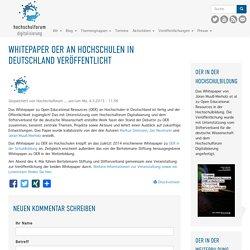 Whitepaper OER an Hochschulen in Deutschland veröffentlicht
