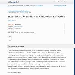 Hochschulisches Lernen – eine analytische Perspektive (Rüdiger Rhein, 2015)