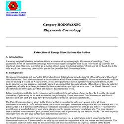 Gregory Hodowanec: Rhysmonic Cosmology