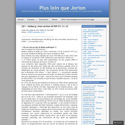 261 – Holbecq: intervention M'PEP 01-11-12 | Plus loin que Jorion
