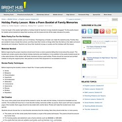 Make Holiday Poetry Lessons For Middle School More Creative & Personal With Holiday Memory Poems