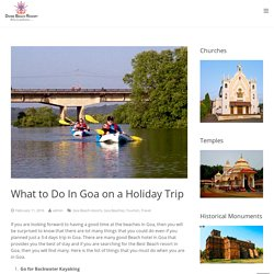 What To Do In Goa Holiday Trip