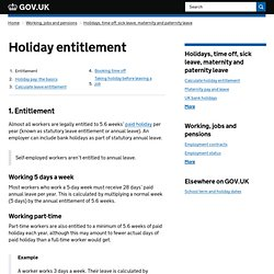 Holiday entitlements