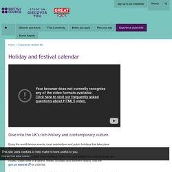 Holiday and festival calendar