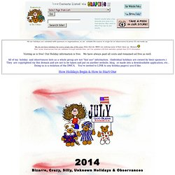 July Holidays 2012 (Official) Monthly, Weekly, Daily, Bizzare, Crazy, Silly Holiday Observances