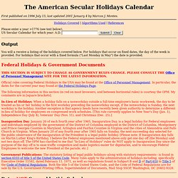 Holidays and Other Dates in the US Secular Calendar