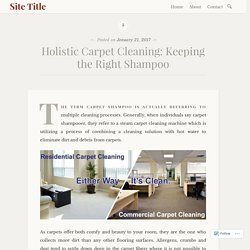 Holistic Carpet Cleaning: Keeping the Right Shampoo – Site Title