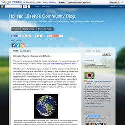 Holistic Lifestyle Community Blog: Climate Change: Causes and Effects