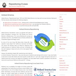Holland America Repositioning Cruises 2018-2019-2020
