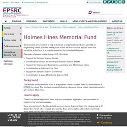Holmes Hines Memorial Fund - EPSRC website