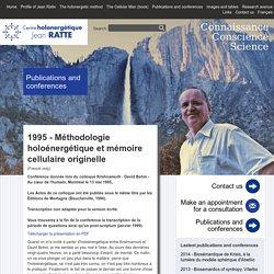 Centre holonergétique Jean Ratte - Publications et conférences
