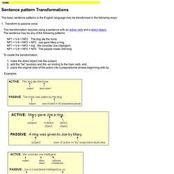 Sentence pattern Transformations- Towson.edu