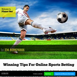 Winning Tips For Online Sports Betting