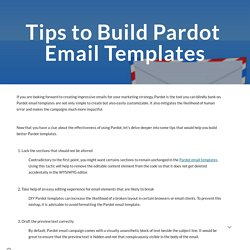 Tips to Build Pardot Email Templates