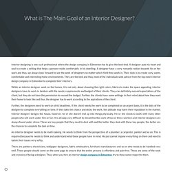 What is The Main Goal of an Interior Designer?