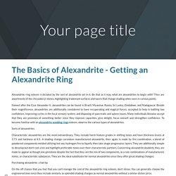 The Basics of Alexandrite - Getting an Alexandrite Ring