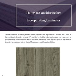 Things to Consider Before Incorporating Laminates