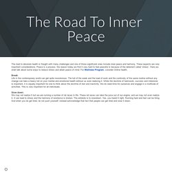 The Road To Inner Peace