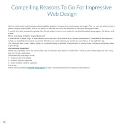 Compelling Reasons To Go For Impressive Web Design