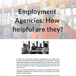 Employment Agencies: How helpful are they?