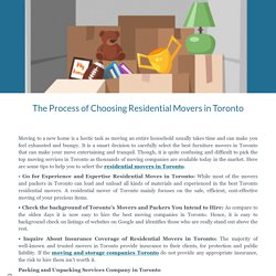 The Process of Choosing Residential Movers in Toronto
