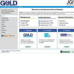 Genomes OnLine Database - Home