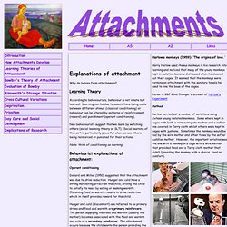 explanations of attachment learning theory (outline) the learning theory of attachment focuses of two concepts operant and classical conditioning classical conditioning as an explanation for attachment describes the baby receiving food (and unconditioned stimulus) and producing an unconditioned response (happiness) and the mother feeding the baby will be the neutral stimulus.