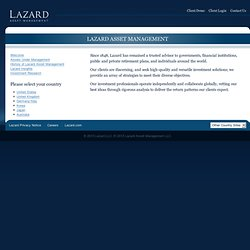 Lazard Asset Management LLC - Welcome