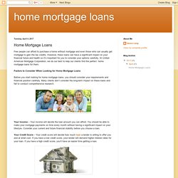 home mortgage loans: Home Mortgage Loans