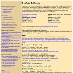 Home Page of Geoffrey Hinton
