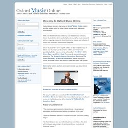 Home Page in Oxford Music Online