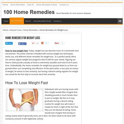 Home Remedies for Weight Loss - How to lose weight fast