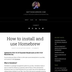 How to install and use Homebrew - matthewcarriere.com