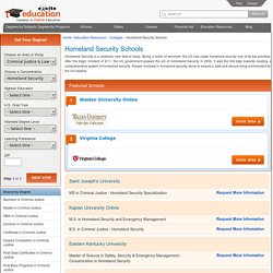 Homeland Security Schools, Homeland Security Colleges