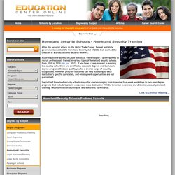 Homeland Security Schools & Career Training