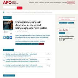 Mélodie - Ending homelessness in Australia: a redesigned homelessness service system