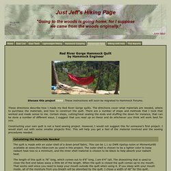 Just Jeff's Homemade Gear - Hammock Engineer's Red River Gorge Quilt