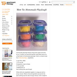 How To: Homemade Playdough