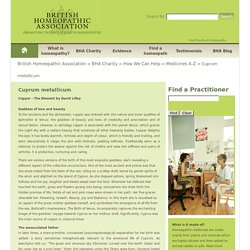 Cuprum metallicum - British Homeopathic Association - British Homeopathic Association
