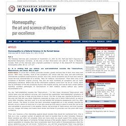 Articles on homeopathy from master homeopathic practitioners