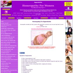 Homeopathy for Appendicitis, Natural Treatment for Appendicitis
