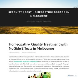 Homeopathy- Quality Treatment with No Side Effects in Melbourne