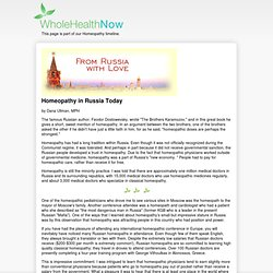 Homeopathy in Russia Today