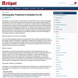 Homeopathy Treatment Is Suitable For All